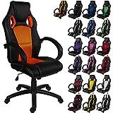 """RACEMASTER® """"GS Series"""" - Silla de escritorio/Gaming silla de despacho - Mecanismo de inclinación y elevación Homolación SGS - Disponible en 20 colores - silla de oficina naranja"""