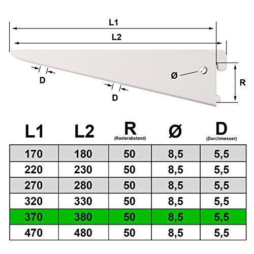 PRIOstahl Regalträger 10 Stück - 370mm weiss 2-Reihig Regalsystem für Wandschiene Regalhalter