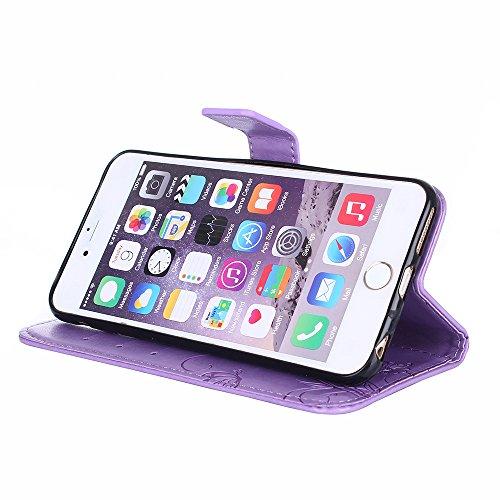 Custodia per iPhone 6 6S Plus Cover Pelle,SKYXD Colorata Fiore Formica Disegni 3D Morbida Flip Libro PU Pelle Portafoglio Custodia Case per iPhone 6S/6 Plus Guscio Protettivo Coperture Antiurto 360 Pr Porpora