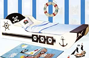 lga lit pour enfant en forme de bateau pirate 90 x 200 cm cuisine maison. Black Bedroom Furniture Sets. Home Design Ideas