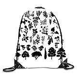 ERCGY 3D Print Drawstring Backpack Rucksack Shoulder - Herbs