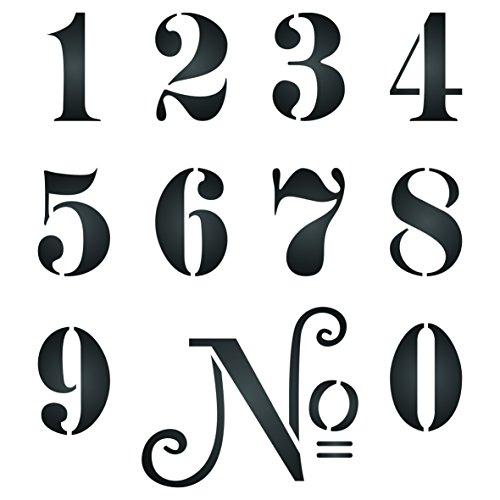 Zahlen Schablone-wiederverwendbar Vintage French Mottoparty Wort Wand Schablone-Vorlage, auf Papier Projekte Scrapbook Tagebuch Wände Böden Stoff Möbel Glas Holz etc, L -