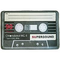 Yazi Creative música cinta alfombra gris Negro Cassette Doormats antideslizante Home Dormitorio Decoración 40x 60cm