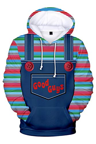 MingoTor Herren Damen Chucky Child's Play Kapuzenjacke 3D Pullover mit Kapuze Sweatjacke Hoodie Cosplay Kostüm Unisex (Chucky Childs Play Kostüm)