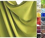 Verdunkelungs-Stoff Meterware - edler Vorhangstoff in 18 Farben (Lind-Grün)