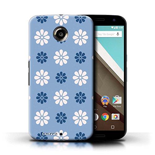 Kobalt® Imprimé Etui / Coque pour Motorola Nexus 6 / Rose conception / Série Motif avec pétales Bleue