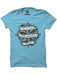 The Souled Store Wanderlust Travel Printed Premium SKY BLUE Cotton T-shirt for Men Women and Girls