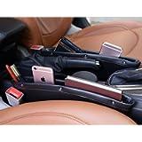 2pcs Car Seat Side Pocket | Car Seat Gap Organizer, Caddy Slit Pocket Catcher Storage Organizer Leather Universal…