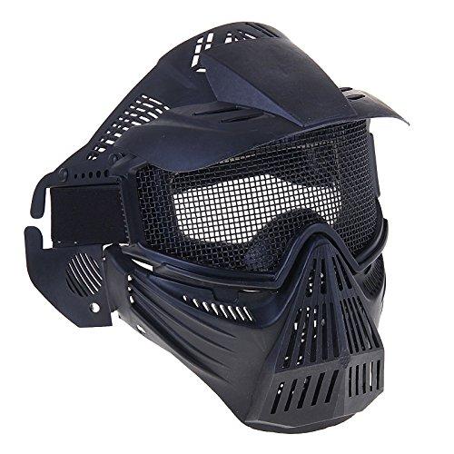 Tragen Kostüm Brille Halloween (AIRSOFT Pro Full Face Mesh Maske Schutzmaske Militär Schutz Paintball Halloween-Kostüm htuk® (schwarz),)