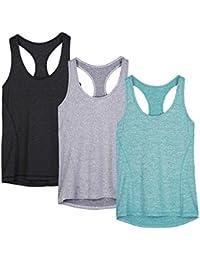 icyzone Débardeur Et Tops de Sport Gilet Femme T-Shirt sans Manches Yoga Fitness Elastic Vest