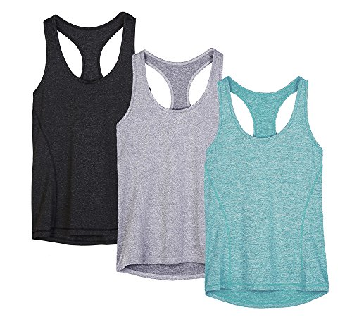 tions-Tanktop Sporttop Unterhemd Stretch fuer Yoga Fittness training Damen Tanktop Racerback ,Black/Granite/Green,XL ()