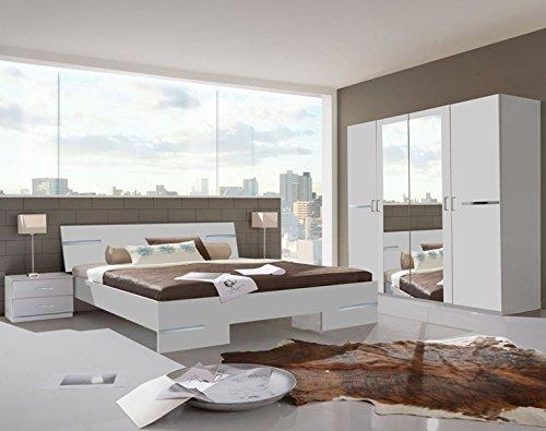 PEGANE Chambre Adulte en Panneaux de Particules Coloris Blanc - 140 X 200 cm