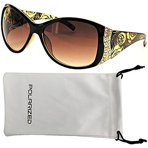 Las mujeres de Vox polarizados gafas de sol del diseñador de moda de la vendimia del Rhinestone floral Gafas Con bolsa de microfibra sin