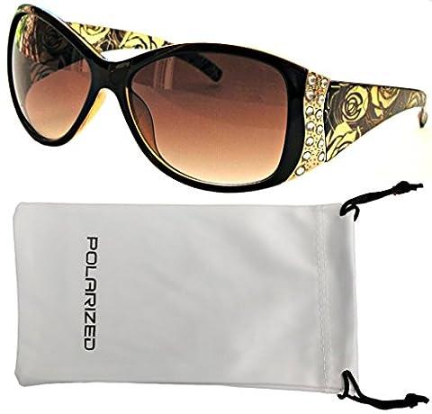 Vox Women's Polarised Sunglasses Designer Fashion Rhinestone Vintage Floral Eyewear – Amber Frame – Amber Lens