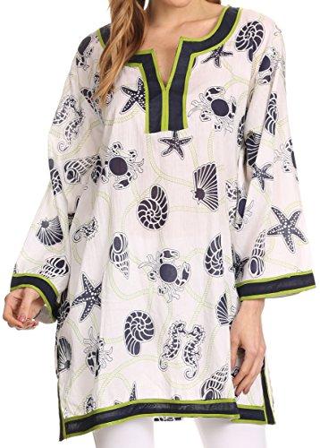 Sakkas 164024 -Fawn Tunika Bluse Top mit gedrucktem Muster und Multi tonte Borte - Navy / Grün - 2X (Sheer Tunika V-neck)