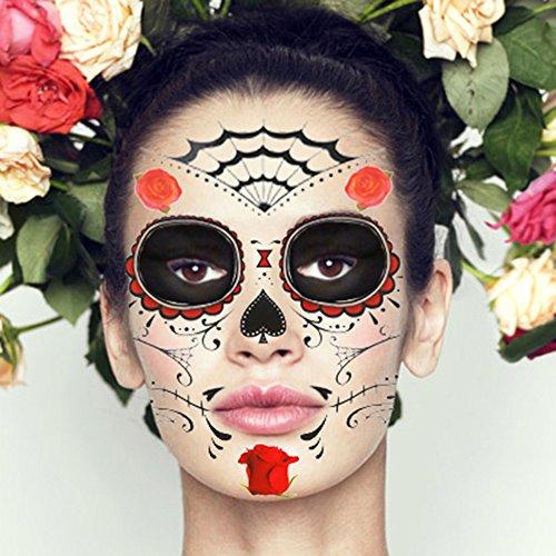 COKOHAPPY Glitter Blumen Tag von the Tot Zucker Schädel Temporäre Gesicht Tattoo Kit - Pack von 2 Kits (Tote Coole)
