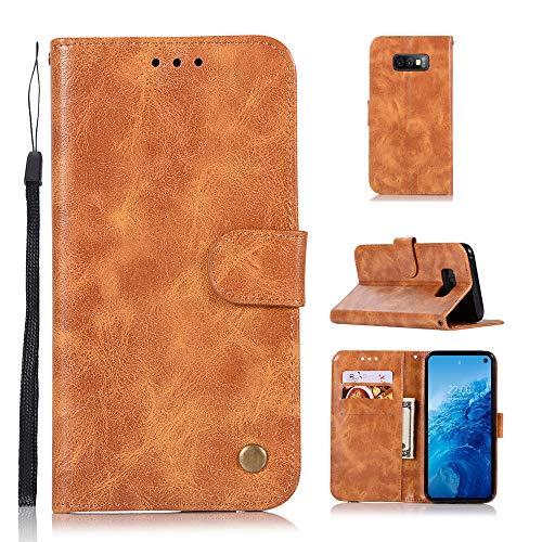 BasicStock Samsung Galaxy S10 Lite Hülle Leder, PU Ledertasche etui Schutzhülle Tasche Slim Flip Case Cover mit Magnetverschluss für Samsung Galaxy S10 Lite(Hellbraun)