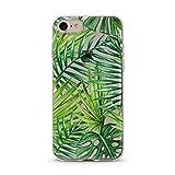 Handyhülle für Apple iPhone - Hülle - Schutzhülle mit Motiv - TPU Silikon Hülle - Case - Cover - Schale - Backcover - Handytasche (Für iPhone 7, Palmenblätter Grün)