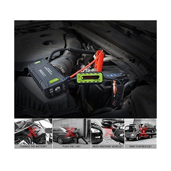Dr.Auto – Arrancador de Coches 1000A, 20000mAh, Jump Starter Portatil 12V Baterías Soporte Vehículo de Gasolina