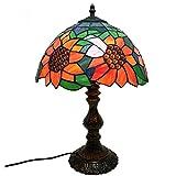 Lyy Lámpara de mesa hecha a mano de la vendimia de 12 pulgadas, vitrina de estilo europeo Pantalla de la sala de estar de la lámpara del dormitorio Decoración de la cabecera Lámpara de escritorio de la protección ocular, interruptor de botón