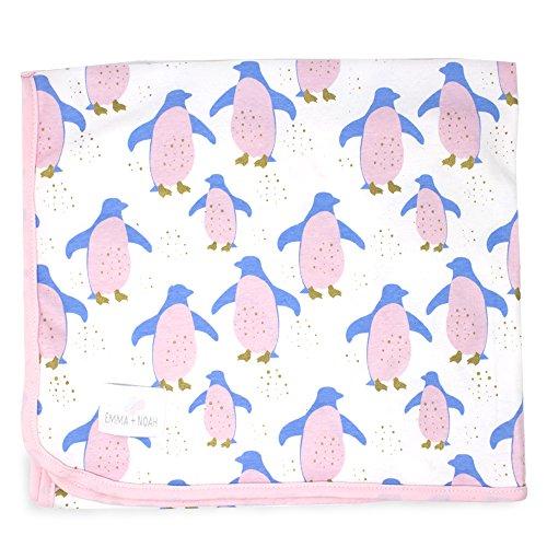 emma & noah couverture pour bébés, extra douce et moelleuse, 100% coton, 80x100 cm, ideale comme couverture pour poussette, plaid, doudou, couverture de naissance / d'allaitement (Pingouin)