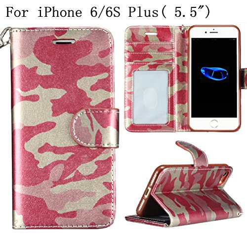"iPhone 6Plus 5.5"" Wallet Case,Heyqie(TM) Army Camouflage Premium Leather Folio Case Wallet and Kickstand Function Protective Shell Wallet Case Cover for Apple iPhone 6 plus/ iPhone 6s plus 5.5"" -Green Rose"