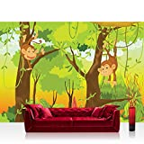 Vlies Fototapete 200x140 cm PREMIUM PLUS Wand Foto Tapete Wand Bild Vliestapete - JUNGLE ANIMALS MONKEYS - Kinderzimmer Kindertapete Comic Affen Dschungel Äffchen - no. 094