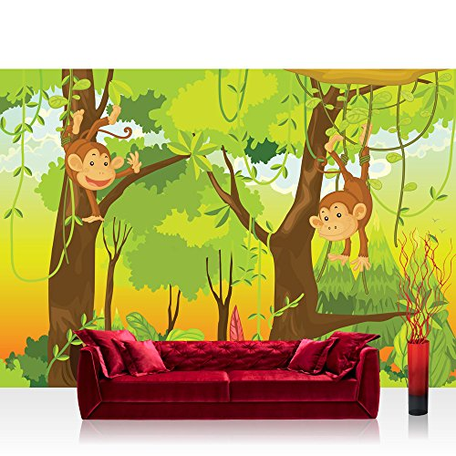Vlies Fototapete 300x210 cm PREMIUM PLUS Wand Foto Tapete Wand Bild Vliestapete - JUNGLE ANIMALS MONKEYS - Kinderzimmer Kindertapete Comic Affen Dschungel Äffchen - no. 094