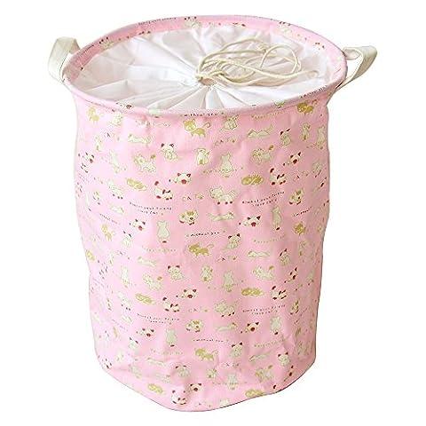 DuShow Large Sized Cat Waterproof Coating Ramie Cotton Fabric Folding Laundry Hamper Bucket Cylindric Burlap Canvas Storage Basket (Red)