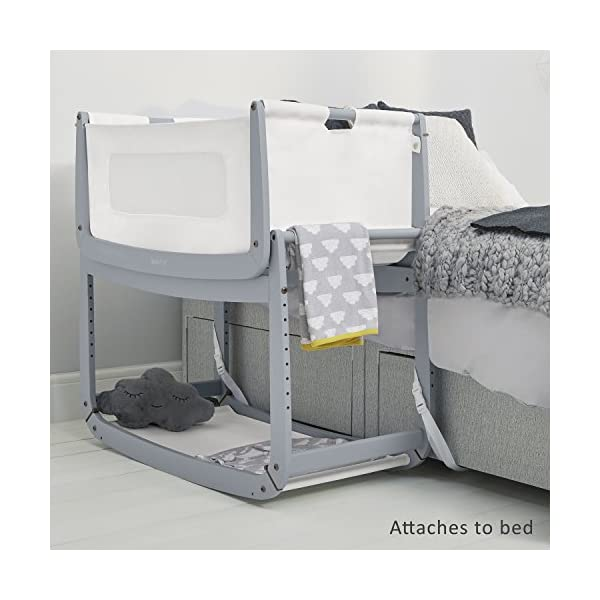 SnuzPod 3 Bedside Crib - Dove Grey Snuz SnuzPod 3 has added functionality, a lighter bassinet and a more breathable sleeping environment. More than just a bedside crib; use as a bedside crib, stand alone crib or moses basket/bassinet. Simply attach the crib to your bed using straps provided (fits frame and divan beds) and your ready use as a bedside crib. The 9 different height settings allow you to ensure the crib is the right height for your bed (31-63cm) New! SnuzPod 3 now comes with an optional reflux function, by tilting the crib and setting an incline to reduce reflux symptoms little one can get a better nights sleep. 7