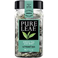 Pure Leaf Green Tea with Mint (Pack of 1, Total 16 Pyramid Tea Bags)