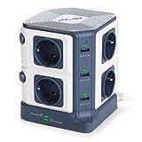 BESTEK 1500J Torres Regleta Enchufes de 8 Tomas UE y 6 Rapida USB, SPD Protección contra...