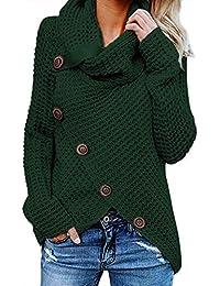 Aleumdr Jersey de Punto de Invierno Suéter de Cuello Alto Jerséis Casual para  Mujer Mujer Size e9c7b99607b4