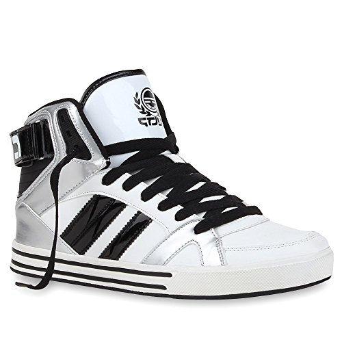 Herren Schuhe High Top Sneakers Cultz Sportschuhe Lack Schnürer Weiß Silber