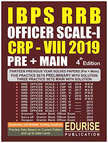 IBPS RRB OFFICER SCALE 1 CRP 8 2019 PRELIMINARY + MAIN Previous Year Solved Papers (2009 to 2018) Practice Sets with Solutions