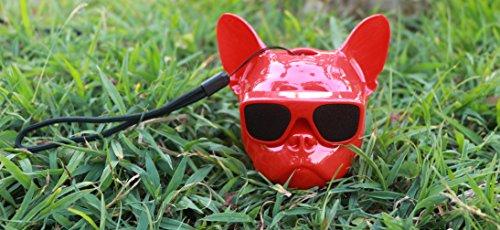 WANGZHAO Bluetooth, Französische Bulldogge, Bluetooth, Sound, Hundekopf, Bluetooth, Sound, Die Bulldogge, Lautsprecher, Schädel, Schädel und Bluetooth,Welpen - Rot -