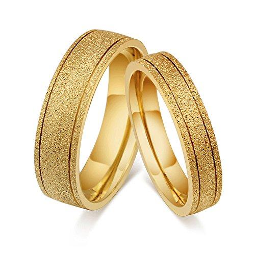 CARTER PAUL Mode Sandstrahlen Paar 18K Gold Einfache Stil Ring, Größe W52 (16.6)