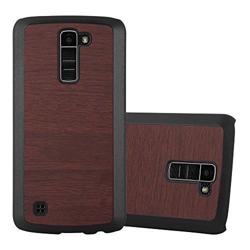 Preisvergleich Produktbild Cadorabo Hülle für LG K10 2016 - Hülle in Woody Kaffee – Hardcase Handyhülle in Vintage Holz Optik - Schutzhülle Bumper Back Case Cover