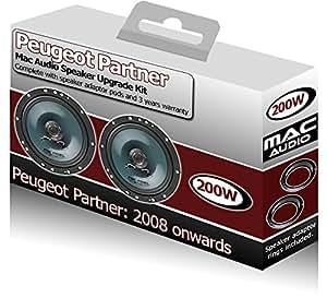 Peugeot Partner Avant Kit enceintes Mac Audio Mac Audio Haut-parleur de voiture de porte 200W Adaptateur gousses