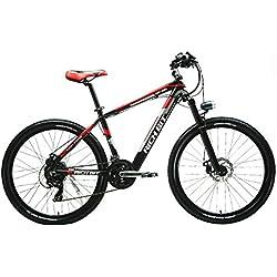 Reichhaltige Bit® Neue Aktualisierte rt-800E-Bike Mountain Bike Fahrrad integrierter Akku Li-Ion Lenker Radaufhängung Qualität Aluminum Legierung Rahmen Shimano 7speeds 7Gängen rot
