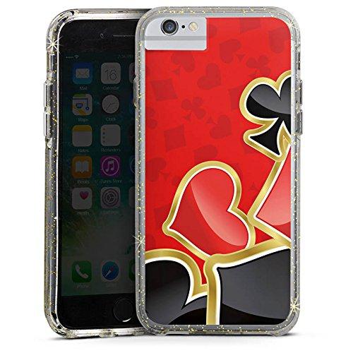 Apple iPhone 7 Bumper Hülle Bumper Case Glitzer Hülle Poker Kartenspiel Rot Bumper Case Glitzer gold
