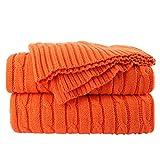 sourcing map 100% Baumwolle Knit Überwurf Classic Kabel Strick Überwurf Decken für Couch Stuhl, Sofa, 119,4x 177,8cm, weich warm leicht Orange