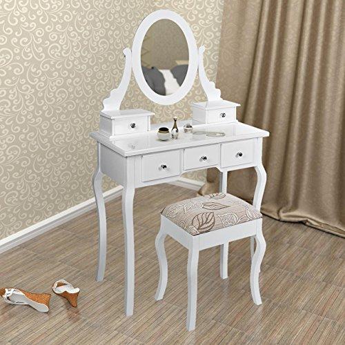 Schminktisch Frisierkommode Frisiertisch Kosmetiktisch mit Hocker, drehbarem Spiegel und 5 Schubladen, Weiß, Holz