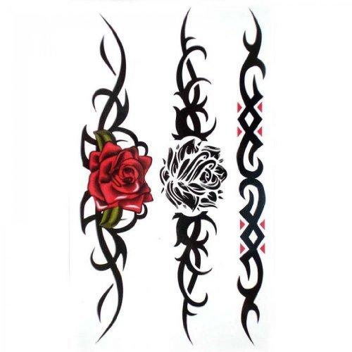 SPESTYLE wasserdicht ungiftig temporäre Tätowierung stickersWaterproof und Schweiß temporäre Tattoos sexy Rote Rose Schwarze Rose für Frauen