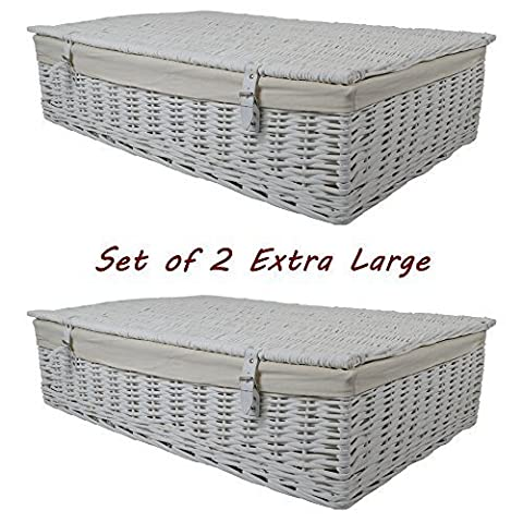 Set of 2 Wicker Extra Large White Lined Underbed Storage Hamper / Basket / Gift Idea