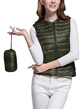Mujer Ultra-Light Chaleco de Pluma Sin Cuello Plegable Down Chaquetas
