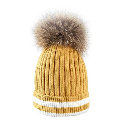 Amlaiworld Winter warm gestreift Strickmützen Damen Niedlich Mädchen Plüschkugel Caps zum häkeln Outdoor Hut (One Size, Gelb) Stretch Winter Cap
