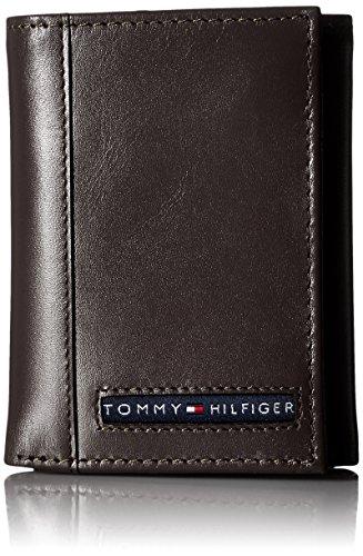 Schlank Stoff Brieftasche (Tommy Hilfiger Herren Leder Cambridge Trifold Brieftasche, Braun)