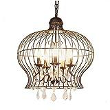 Liuqing Vintage Industrie Thema Schmiedeeisen Kronleuchter Einstellbare Kristall Dekorative Pendelleuchte Runde Vogelkäfig Design Lampenschirm Deckenleuchte
