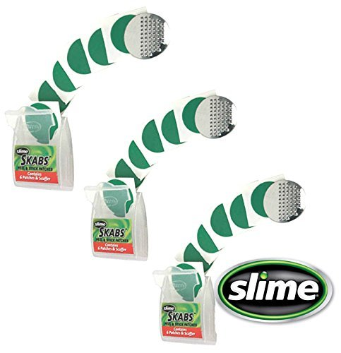 Slime Skabs 6 Peel and Stick Puncture Repair Patches for Bike Tubes (3 Pack) -